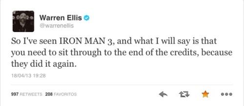 Warren Ellis comenta Homem de Ferrro 3