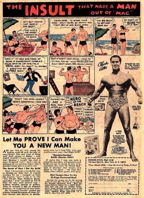 Um anúncio do método vendido pela Charles Atlas Ltda. (Flex Mentallo)